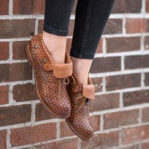 Patricia Nash tan Sabrina perforated Ankle booties